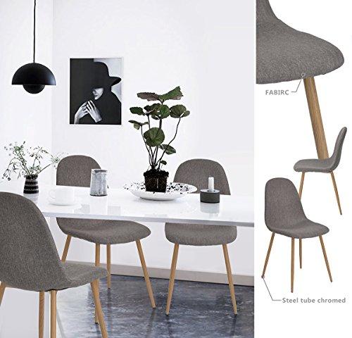 4 st ck st hle skandinavischen grau esszimmer st hle vintage k che aus stoff grau 1. Black Bedroom Furniture Sets. Home Design Ideas