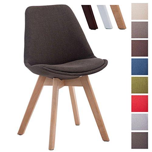 CLP Design Retro Stuhl BORNEO V2, Besucherstuhl mit Holz-Gestell, Küchenstuhl mit Stoff-Bezug Dunkelgrau, Gestellfarbe: natura