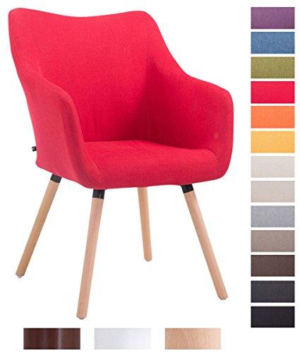 CLP Design Besucher-Stuhl MCCOY V2 mit Armlehne, Stoff-Bezug, Holz-Gestell, Sitzfläche gepolstert Rot, Gestellfarbe: natura
