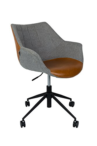 Zuiver 1300003 Office Chair Doulton, Lederimitat, braun, 63 x 67 x 91 cm