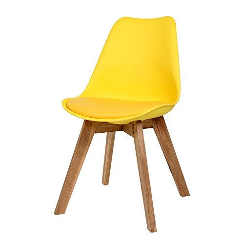 BUTIK FL20366-6 Angebot 6-er Set Moderner Design Esszimmerstuhl Consilium Valido, Eichenholz, 83 x 48 x 39 cm, gelb