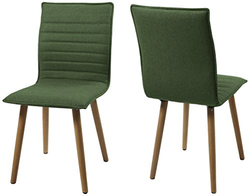 AC Design Furniture H000014090 Esszimmerstuhl 2-er Set Claus, Sitz/Rücken Gestell aus Eiche, Stoff, grün