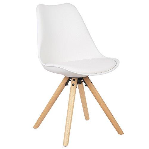 WOLTU® BH52ws-1 1 Stück Esszimmerstuhl, mit Sitzfläche aus Kunstleder, Design Stuhl, Küchenstuhl, Holz, Neu Design, Weiß