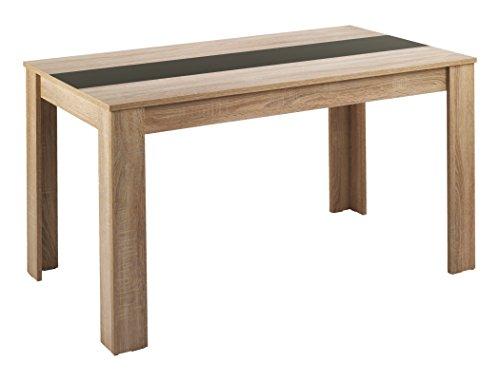 Cavadore Tisch Nico / Moderner Esstisch mit Melaminplatte in Schwarz-Weiß / Melamin Sonoma Eiche / Hellbraun / 120 x 80 x 75 cm (L x B x H)
