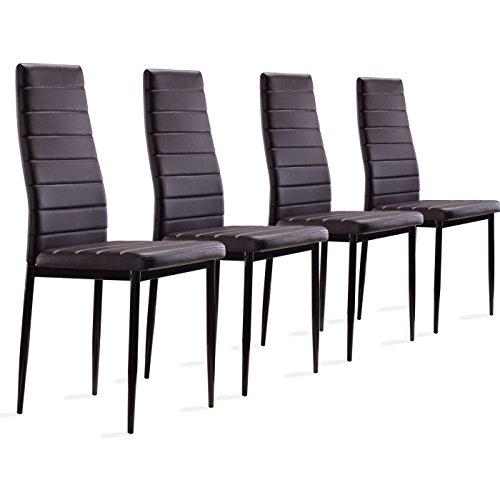Set Stühle aus Kunstleder: Set 2,4,6& 8, braun, 4 Stück