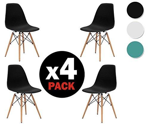 due-home (Nordik)–Pack 4Stühle Tower schwarz, Stuhl Replica Eames schwarz und Holz Buche, Maße: 47cm breit x 56cm tief x 81cm Höhe