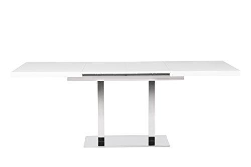 esstisch auszugstisch edelstahl poliert b h t 120 200 x 75 x 80 47 mm plattenst rke wei 2. Black Bedroom Furniture Sets. Home Design Ideas
