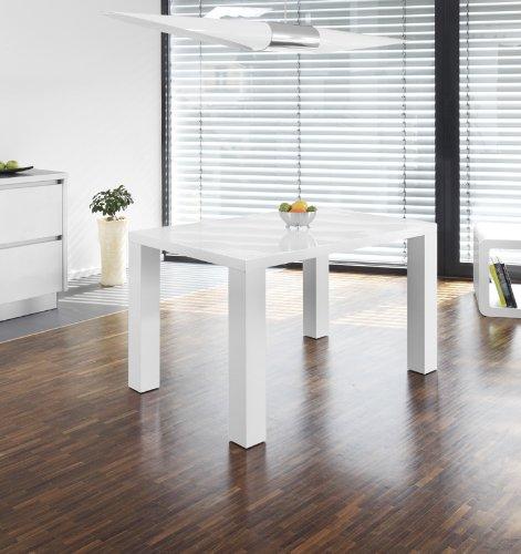 Ess tisch wei hochglanz aus mdf 120x80cm recht eckig for Weisser esszimmertisch