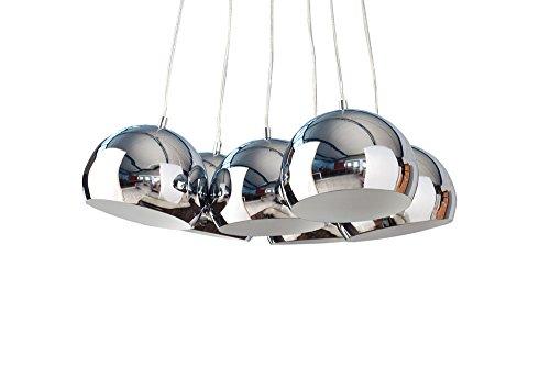 Design Hängelampe PERLOTA M Design 6 Halbkugeln aus Chrom 115 cm lang