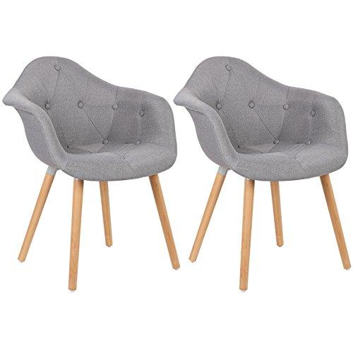 WOLTU® BH55gr-2 Esszimmerstühle 2er Set Esszimmerstuhl mit Lehne Design Stuhl Küchenstuhl Leinen Holz Grau