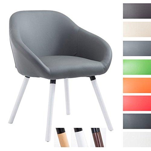 CLP Besucher-Stuhl HAMBURG mit Armlehne, max. Belastbarkeit 150 kg, Holz-Gestell, Kunstleder-Bezug, Sitzfläche gepolstert, mit Bodenschonern, Grau, Gestellfarbe: Weiß