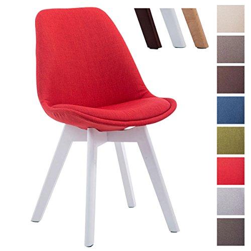 CLP Design Retro Stuhl BORNEO V2, Besucherstuhl mit Holz-Gestell, Küchenstuhl mit Stoff-Bezug Rot, Gestellfarbe: weiß