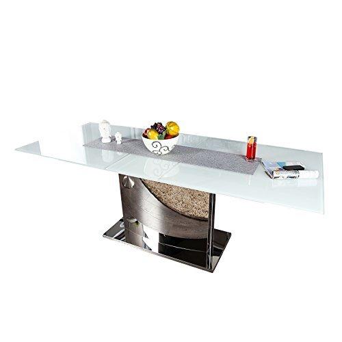 ausziehbarer design esstisch concord glastisch chrom weiss. Black Bedroom Furniture Sets. Home Design Ideas