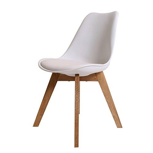 BUTIK FL20360-6 Angebot 6-er Set Moderner Design Esszimmerstuhl Consilium Valido, Eichenholz, 83 x 48 x 39 cm, weiß