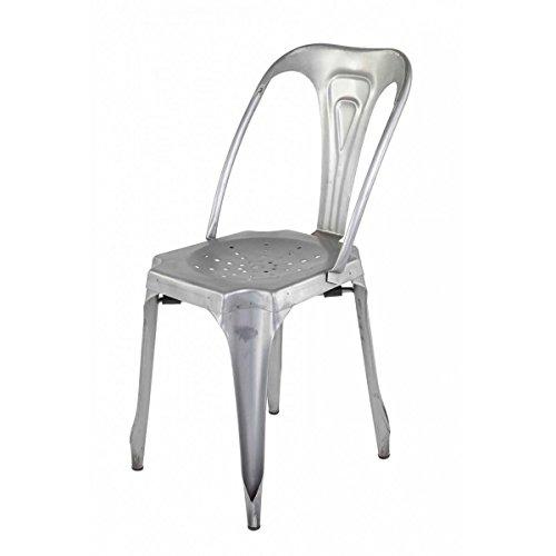 4Stück Stuhl industriellen Metall silber indus-lot-4Stuhl industriellen Metall silber Indus