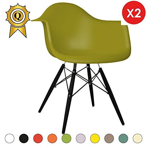 Promo Lot de 2x Sessel Design Inspiration Eiffel DAW Füße Holz schwarz Sitzfläche PP–mobistyl® mobi-dawb olivgrün