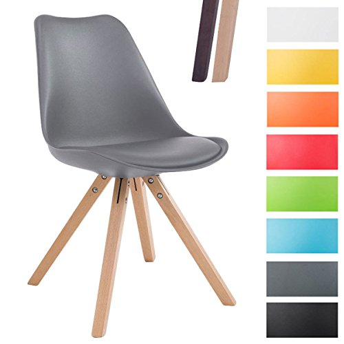 CLP Design Retro-Stuhl TOULOUSE SQUARE, Kunststoff-Lehne, Kunstleder-Sitz gepolstert Grau, Holzgestell Farbe natura, Bein-Form eckig