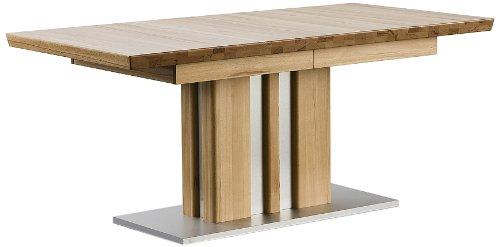 Robas Lund Tisch Esstisch Säulentisch Bolzano ausziehbar Kernbuche Edelstahloptik 160(260)x77x90 cm