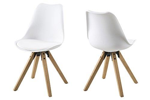 AC Design Furniture 63528 Stuhl Nadia 2-er Set Beine Eichegebeizt, ölbehandelt, weiß