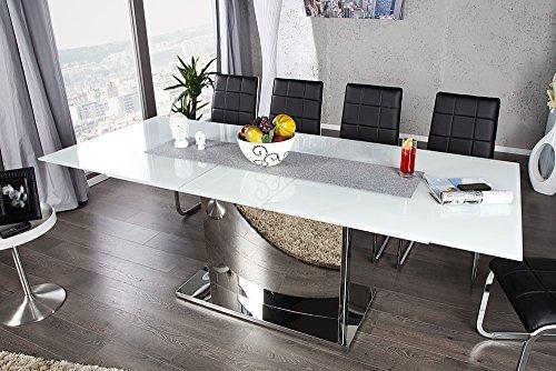 ausziehbarer design esstisch concord glastisch chrom weiss 180 220cm tisch esszimmerst. Black Bedroom Furniture Sets. Home Design Ideas