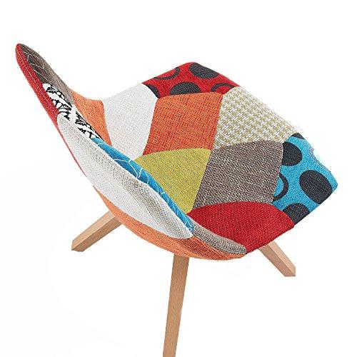 monroe lot de 2 st hle design patchwork f e holz esszimmerst. Black Bedroom Furniture Sets. Home Design Ideas