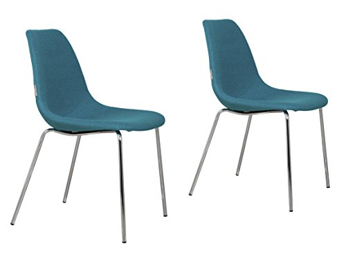 Zuiver 1100214 Stuhl fifteen up 2-er Set, Stoff, chrom / blau, 57 x 46 x 83 cm