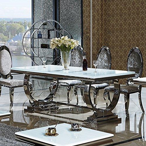 Esstisch amelie 200 x 100 cm esszimmertisch glas edelstahl for Italienische esstische modern