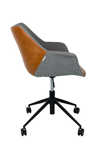 Zuiver 1300003 Office Chair Doulton, Lederimitat, braun, 63 x 67 x 91 cm