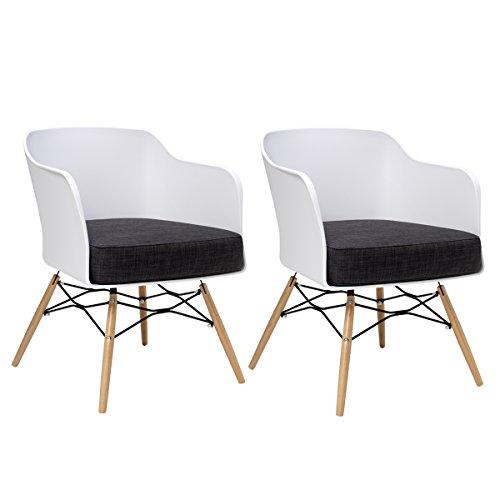 BUTIK Design Esszimmerstuhl Cooper, 2-er Set, 77 x 61 x 49 cm, dunkelgraues Sitzkissen aus hochwertiger Baumwolle, plastik weiß