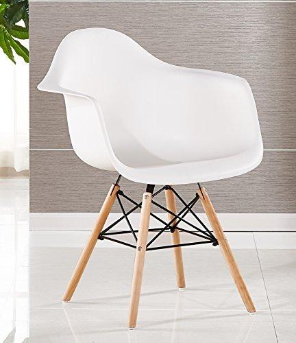 P & N Homewares® Moda Wanne Stuhl Kunststoff Retro Esszimmer Stühle weiß schwarz grau rot gelb grün Retro weiß