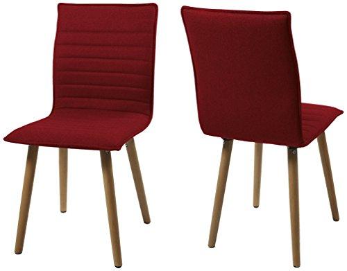 AC Design Furniture H000014091 Esszimmerstuhl 2-er Set Claus, Sitz/Rücken Gestell aus Eiche, Stoff, rot