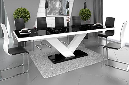 Esstisch VICTORIA Tisch ausziehbar in Super Hochglanz Acryl (weiß hochglanz / schwarz hochglanz)