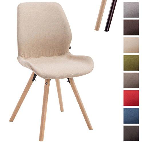 CLP Besucher-Stuhl PERTH, Bein-Form rund, Stoff-Sitz gepolstert, klassischer Esszimmerstuhl, Buchenholz-Gestell, Creme, Gestellfarbe: Natura