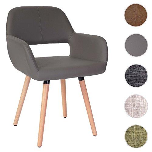 esszimmerstuhl hwc a50 ii stuhl lehnstuhl retro 50er jahre design kunstleder grau. Black Bedroom Furniture Sets. Home Design Ideas