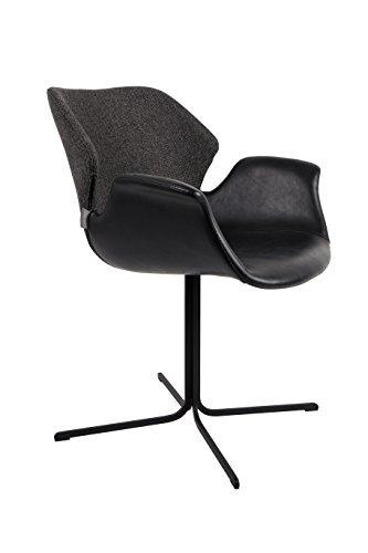 Zuiver 1200138 Armchair Nikki Set of 2, Lederimitat, schwarz, 62 x 66 x 80 cm