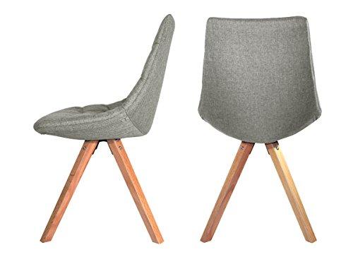 Monroe–Lot de 2Stühle Design Stoff grau Füße Holz