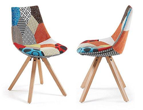 Monroe–Lot de 2Stühle Design Patchwork Füße Holz