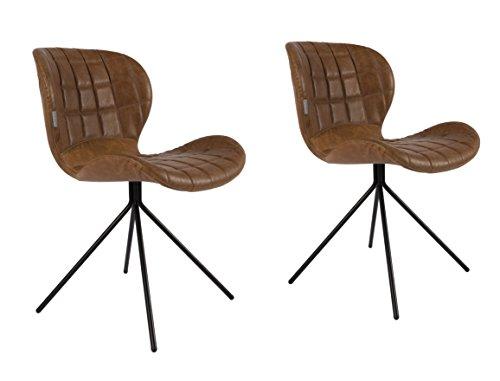Zuiver 1100253 stuhl omg leather look 2 pcs, Stoff, braun, 51 x 56 x 80 cm