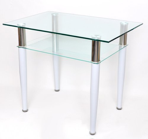 Glastisch 60 x 90 cm Beistelltisch Esstisch Computertisch Edelstahl und Weiß mit 10 mm ESG Glas NEU