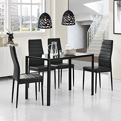 stylischer esstisch mit tischplatte aus glas. Black Bedroom Furniture Sets. Home Design Ideas