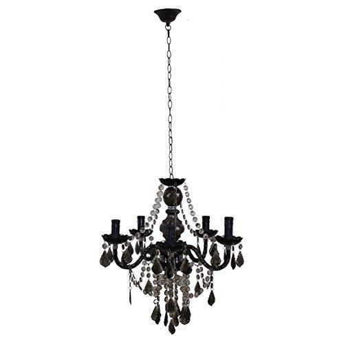 Living Room schwarz Kronleuchter Restaurant Schlafzimmer Vintage Eisen Kerze Lampe-5-Lights