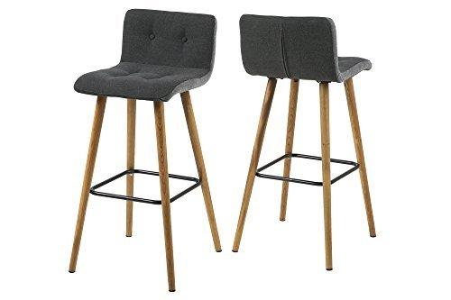 AC Design Furniture Barhocker 2-er Set Charlotte, Seiten hellgrau, Stoff-Knöpfen dunkelgrau / grau