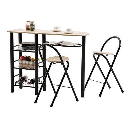 Bartisch Tresentisch STYLE Küchentisch Küchentheke mit Ablagen inklusive 2 Barhocker, Tischplatte sonoma, Gestell schwarz lackiert