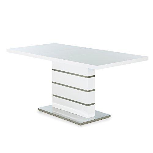 design esstisch atlantis l wei hochglanz 120 160 cm ausziehbar tisch k chentisch konferenztisch. Black Bedroom Furniture Sets. Home Design Ideas