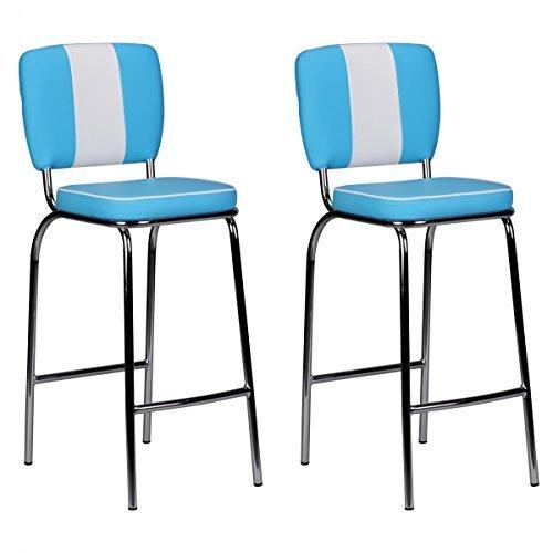 FineBuy 2er Set Barhocker KING American Diner 50er Jahre Retro 2 Barstühle | Sitzfläche gepolstert mit Rücken-Lehne | Thekenstühle mit Fußstütze | Sitzhöhe 76 cm