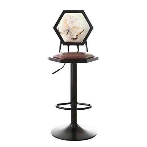 HETAO Mode Einfach Retro Eisenkunst Hoher Stuhl Barhocker Sesselbahn Sessel Barhocker Lounge-Sessel Bar 38 * 38 * 60cm