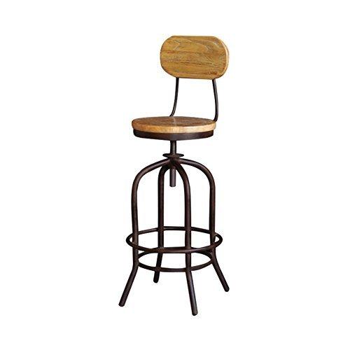 HJHY® Barhocker, Bar Massivholz Retro Einfache High Hocker Ländliche Drehen Cafe Zähler Hohe zurück Woody Kreative Hohe Rezeption Küchenstuhl Europäische Höhe 105cm Hoher Stuhl