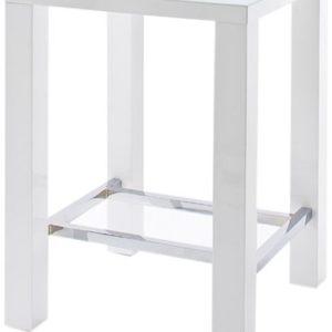 Jam Bartisch 4 Fuß - Tischplatte: Glas lackiert - Farbe: Hochglanz weiß - Gestell: 4-Fuß mit Chromverstrebung