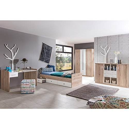 komplett jugendzimmer set sanremo eiche wei schreibtisch kleiderschrank kommode 0. Black Bedroom Furniture Sets. Home Design Ideas