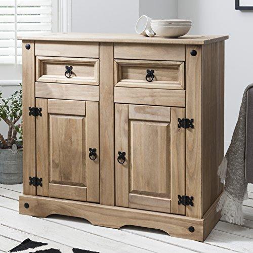 Möbel Anrichte Sideboard Kommode Stil 2 Türen 2 Schubladen gebeizt gewachst